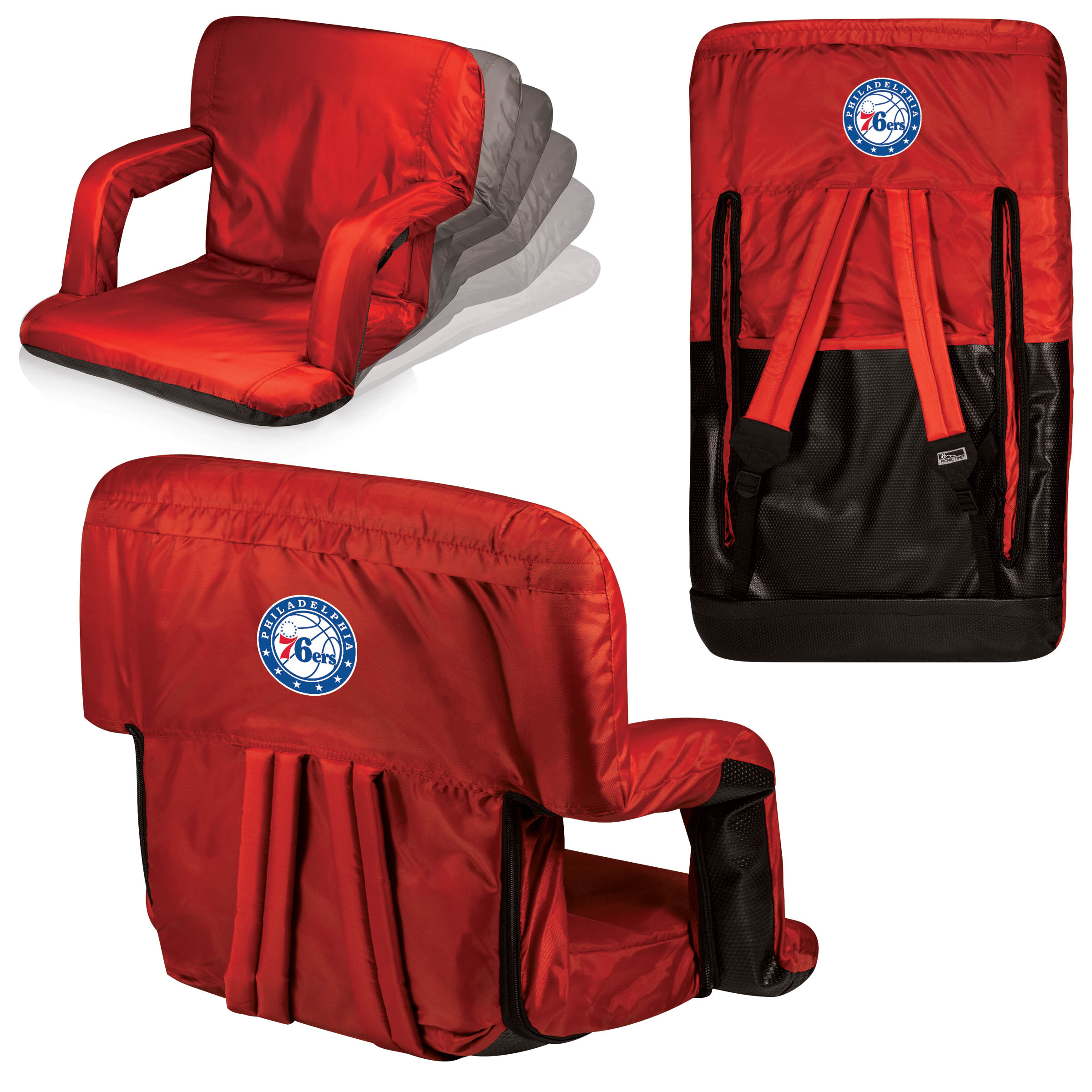 Philadelphia 76ers Red Ventura Seat Portable Recliner Chair By Picnic Time