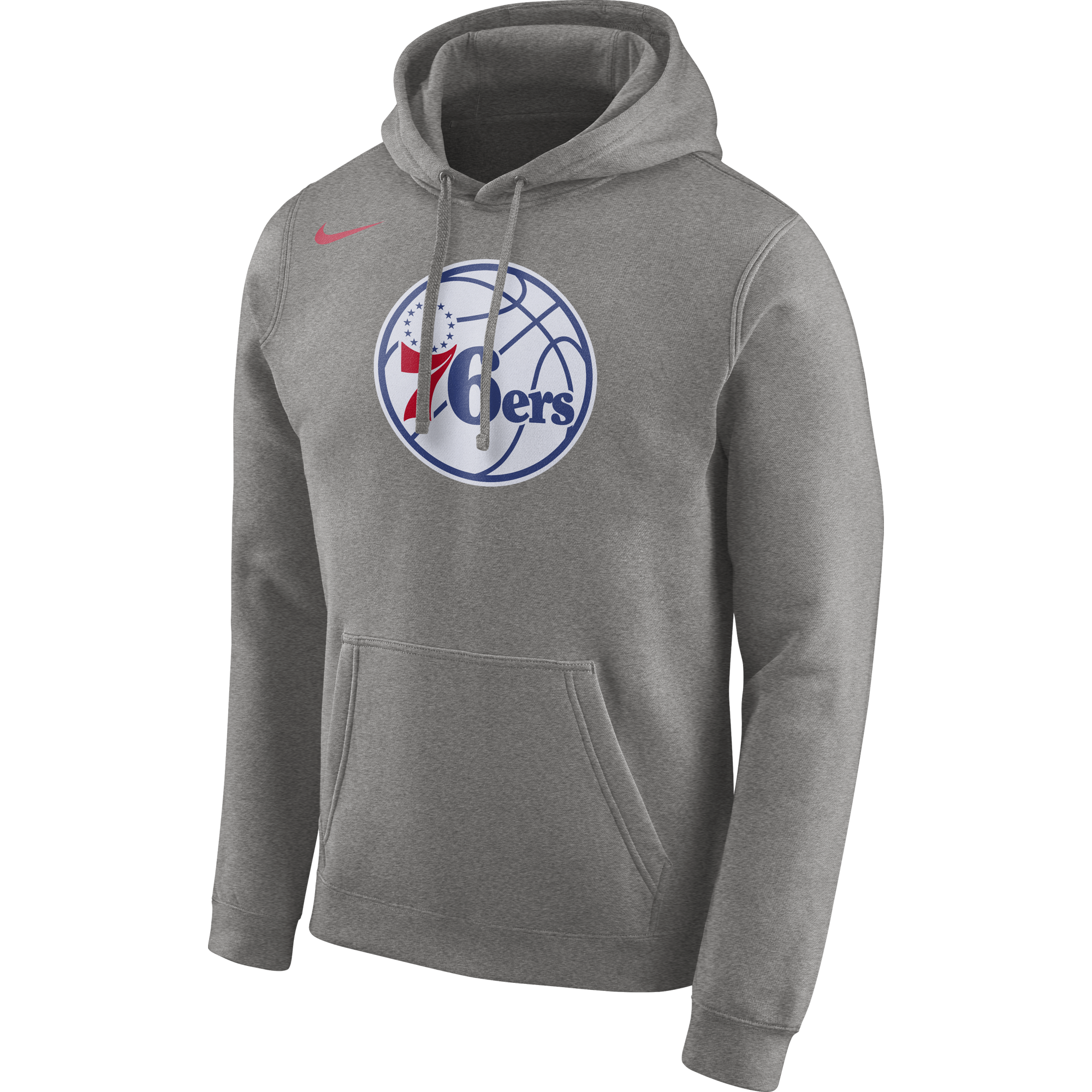 Philadelphia 76ers Men s Grey Fleece Logo Hoodie by Nike - Wells ... 36e662bb1