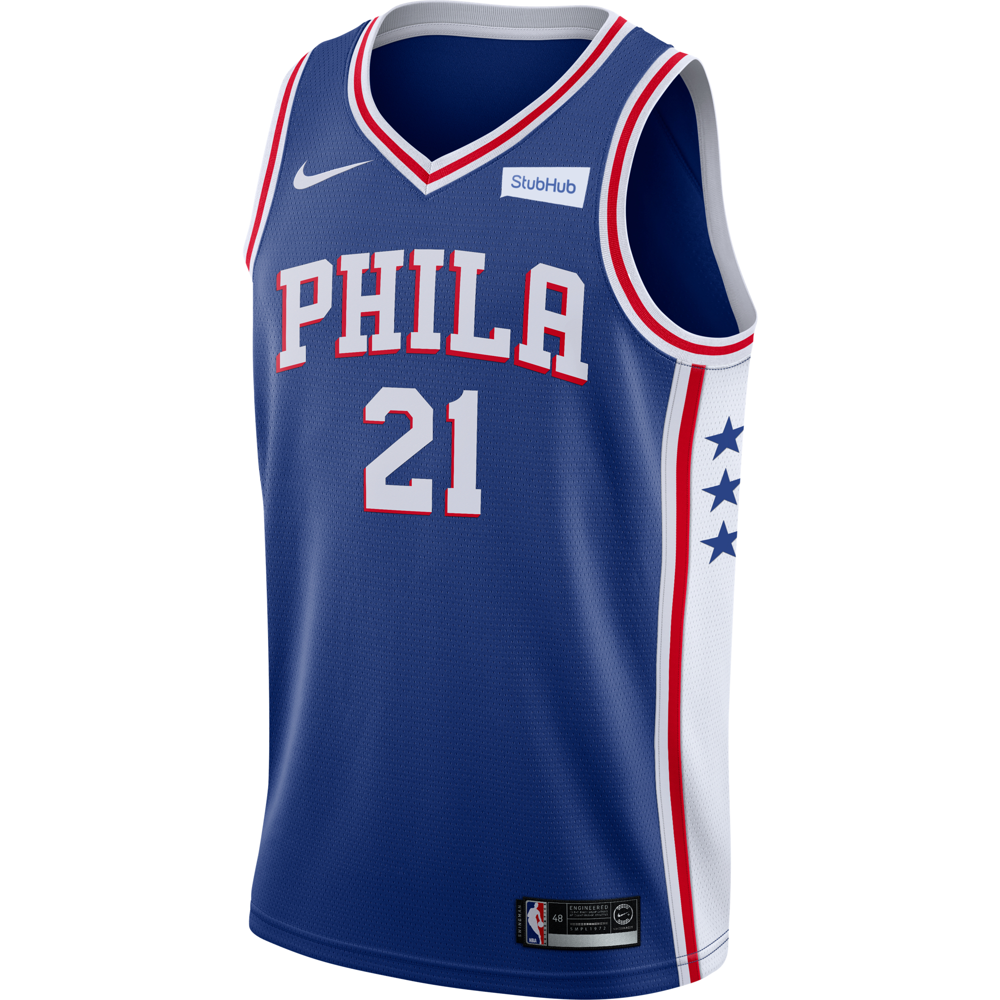 Philadelphia 76ers Men s Blue Joel Embiid Swingman Jersey by Nike ... af623b28305