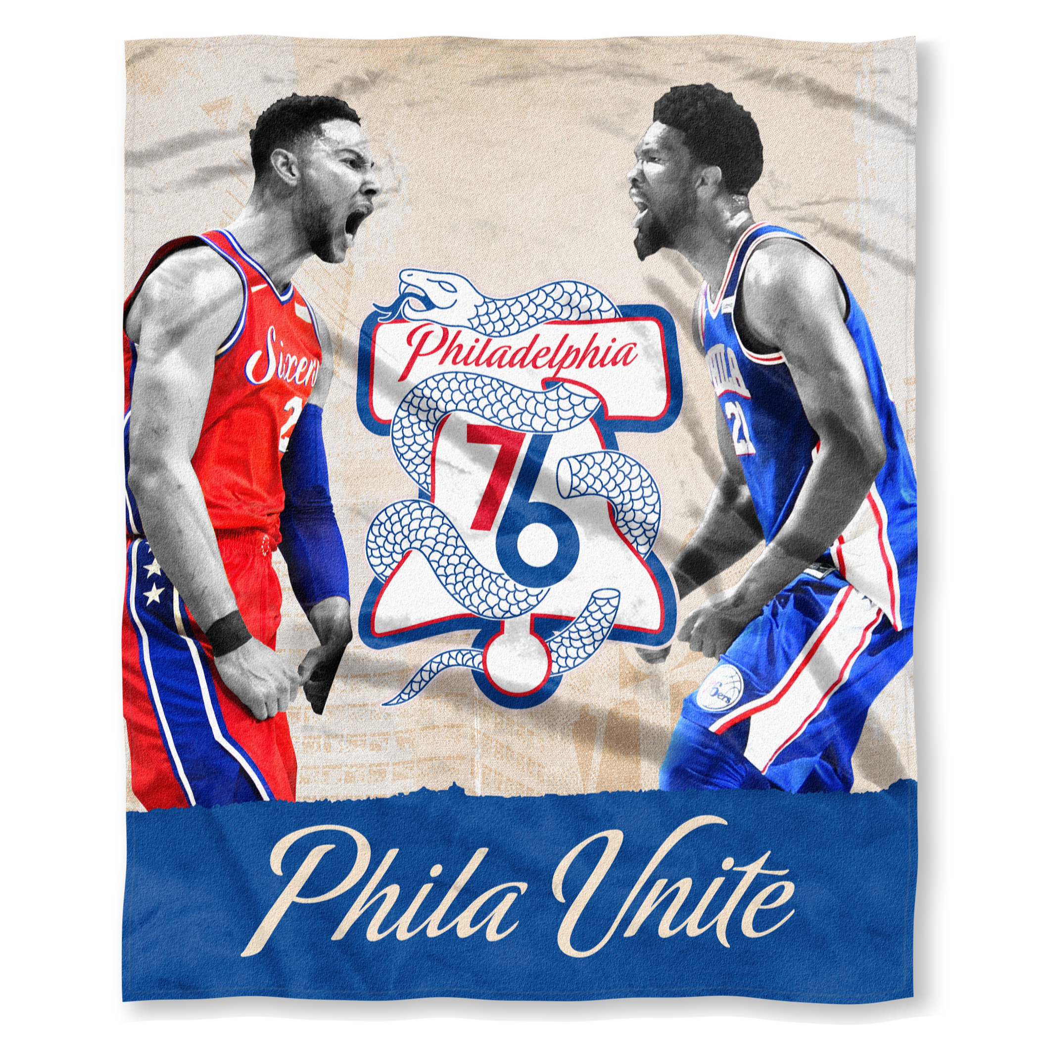 c474849e Philadelphia 76ers Silk Touch Phila Unite Ben Simmons and Joel Embiid  Blanket by The Northwest