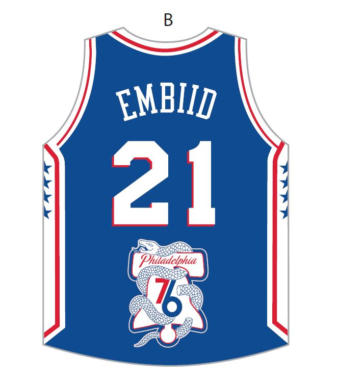 89368dc8d Philadelphia 76ers 2018 NBA Playoffs On Court Logo Joel Embiid Jersey  Fridge Magnet by Aminco