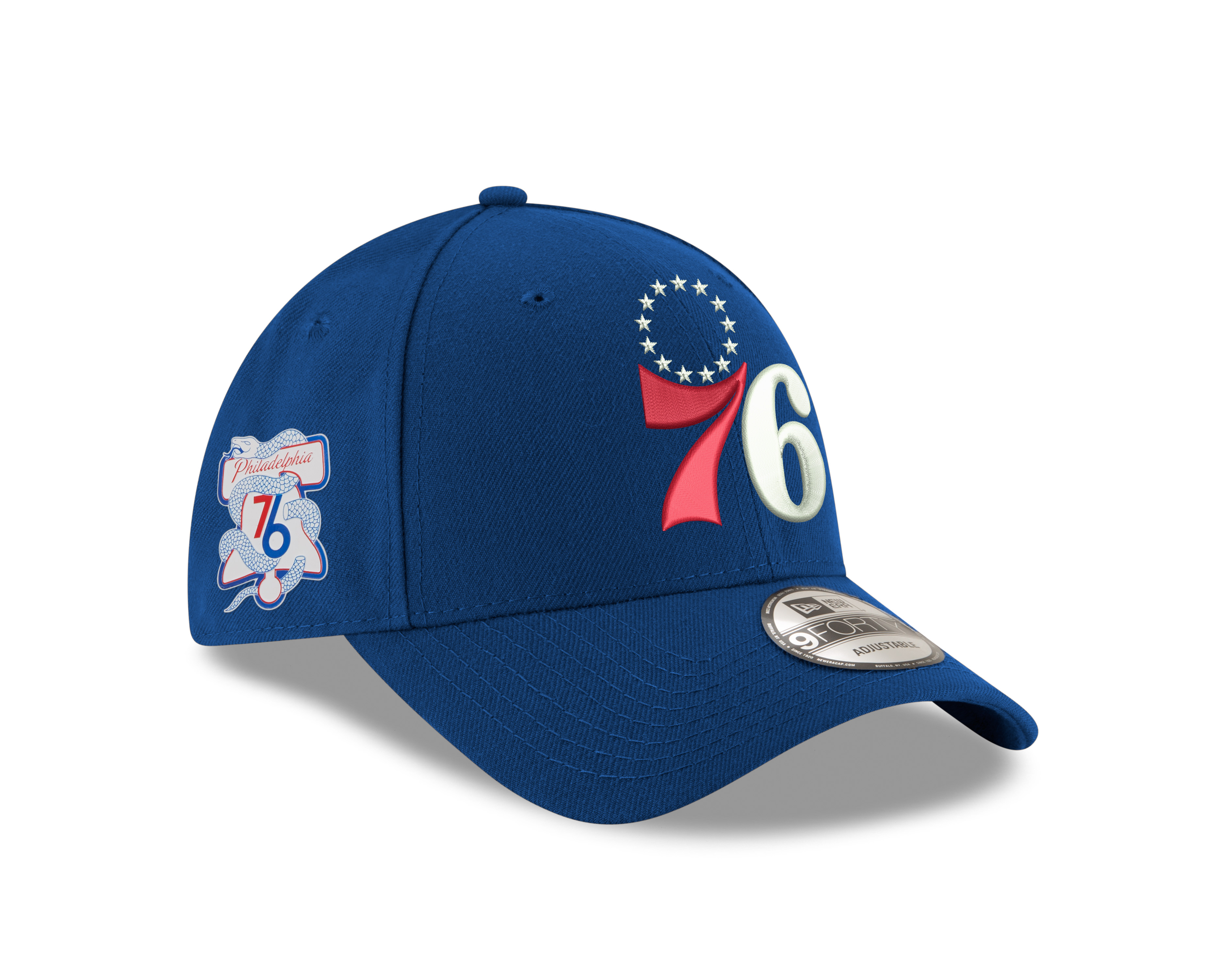 7efda5312df11f Philadelphia 76ers Men's NBA Playoffs On Court Logo Side Patch 9Forty Cap  by New Era